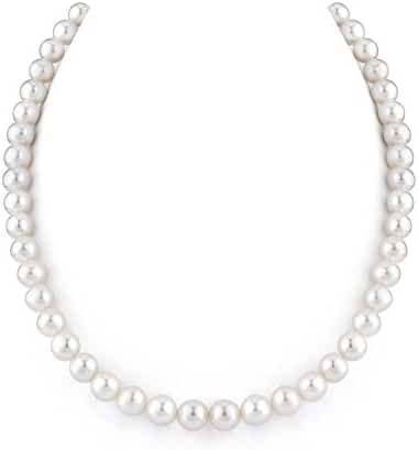 14K Gold White Freshwater Cultured Pearl Necklace, 18