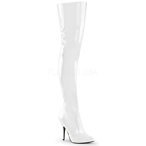 Pleaser Women's Seduce-3010 Thigh High Boot,White Patent,7 M US