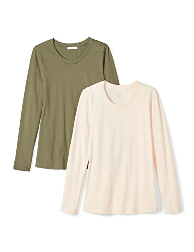 Daily Ritual Women's Lightweight 100% Supima Cotton Long-Sleeve Crew Neck T-Shirt, 2-Pack, XL, Olive Green/Pale Peach
