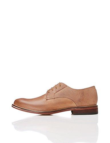 Marrón con Piel Zapato de Hombre para Chocolate Find Textura Blucher RIqT8