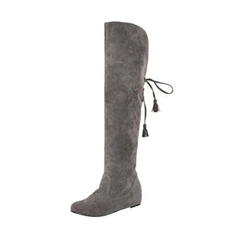 de para invierno Botas cálidas Botas interiores de de Botas Calzado nieve de altas Amlaiworld Gris calientes Zapatos mujer invierno mujer zapatos de felpa mujer plataforma IzvRzU