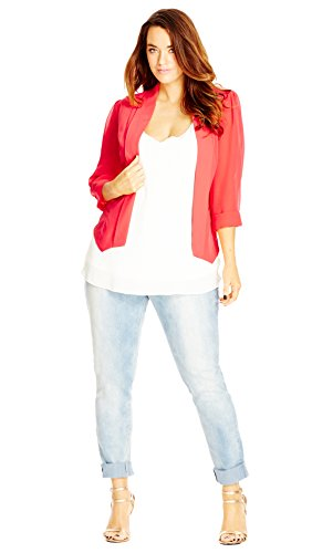 Designer Plus Size JKT DRAPEY BLAZER CO - Lolly - 24 / XXL | City Chic
