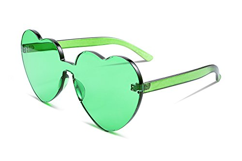 FEISEDY Rimless Heart Shaped Sunglasses Women One Piece Fashion Love Glasses B2419]()
