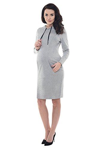 Purpless Maternity Embarazo y de Enfermería Vestido Con Capucha y Bolsillo B6211 Light Gray Melange