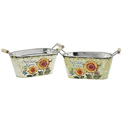 Metal Oblong Bucket Planters with Sunflower Motif, Set of 2
