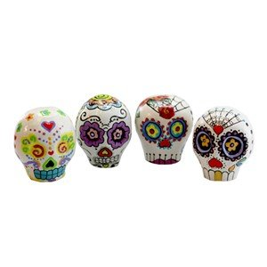 Set of 4 Sugar Skull Hand Painted Ornament]()