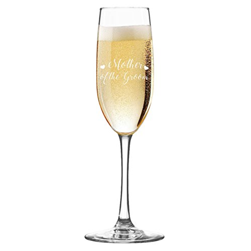 Wedding Party Champagne Flutes - Etched Toasting Bachelorette Flute Glass Gift Favors (Hearts Style, Mother of the Groom Clear Glass)