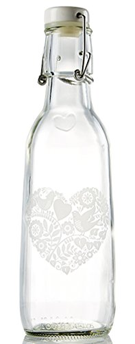 Love Bottle Glass Water Bottle (Elegance Heart), Made in USA, Reusable, Swing Lid, Non Toxic, BPA-Free, Zero Plastic, 500 ml 16.9 oz., Leak Proof, Fits Most Cup Holders, Dishwasher Safe
