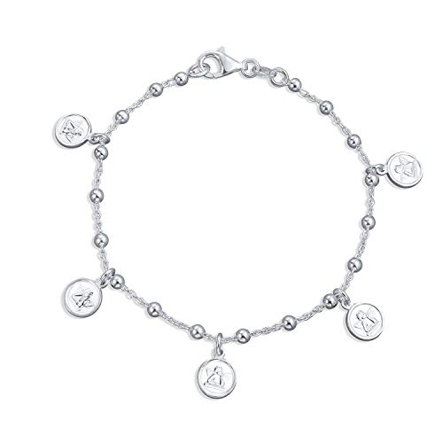 Guardian Angels Cherubs Protection Dangle Round Disc Multi Charm Bracelet For Women For Teen 925 Sterling Silver