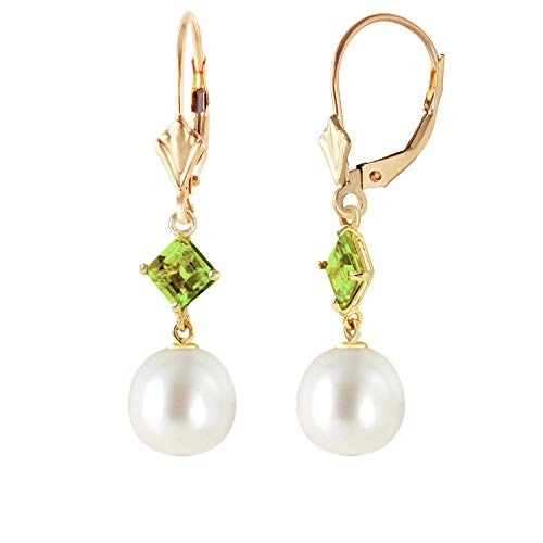Galaxy Gold 14k Yellow Gold Dangle Earrings with Natural Peridots and Natural Pearls