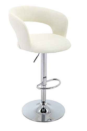 Brage Living Adjustable Height Barstool PU-Leather Bar Stool with Footrest - Ivory (Footrest Height Bar)