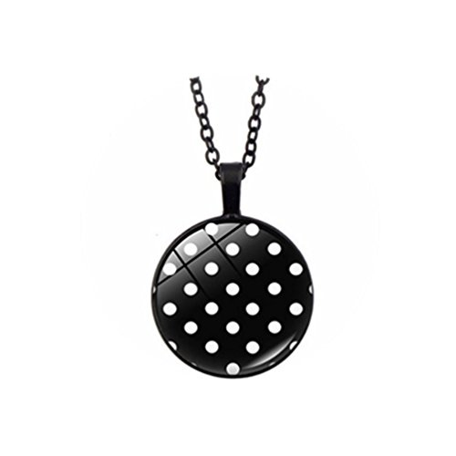 LVERYe Polka Dot Necklace Black and White Polka Dot Jewelry Art Glass Dome Cabochon Necklaces Women Men - Dot Polka Dome