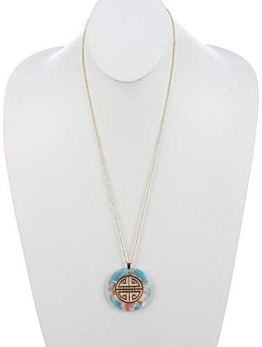 Maya's Grace Geometric Pattern Cutout Metal Lucite Stone Pendant Round Marble Finish Necklace - Marble Pendant Aqua