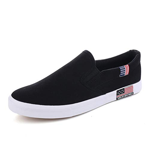 Women Casual Canvas Loafers Slip-On Vulcanized Comfort Fashion Breathable Round Toe Flat Shoes Black -