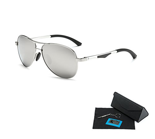 Shushu Jacob Men's Polarized Sunglasses UV400 Protection Vintage Aviator Silver Lens Silver - Card Aviator Silver