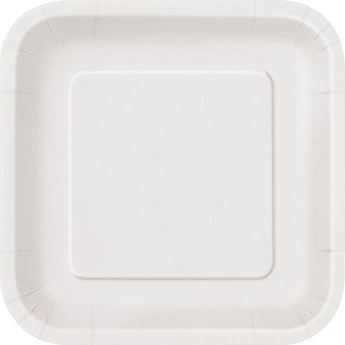 Square White Paper Cake Plates, ()