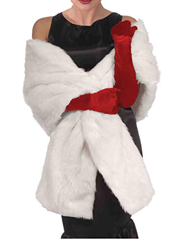 White Faux Fur Shawl Cruella Coat Costume White Faux Fur Coat White Stole]()