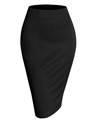 H2H Womens Basic Versatile Elastic Waist Band Office Pencil Skirt Trendy and Elegant Item Black M - Pencil Linen Skirt
