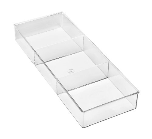 Whitmor 3 Section Small Drawer Organizer - Easy Clean Clear Plastic Resin (Drawer Set Organizer Of 6)