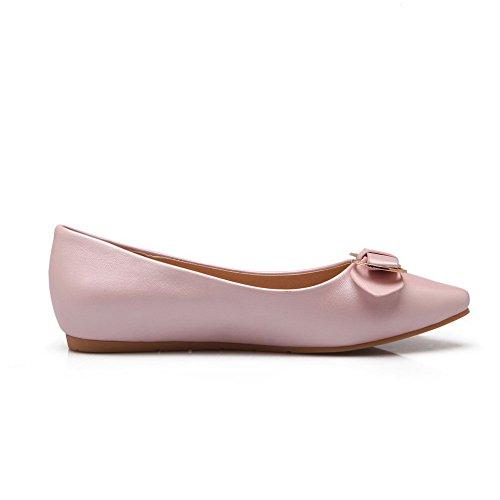 AllhqFashion Damen Pu Leder Niedriger Absatz Spitz Zehe Eingelegt Ziehen Auf Pumps Schuhe Pink