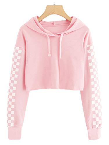 (Imily Bela Kids Crop Tops Girls Hoodies Cute Plaid Long Sleeve Fashion Sweatshirts Pink)