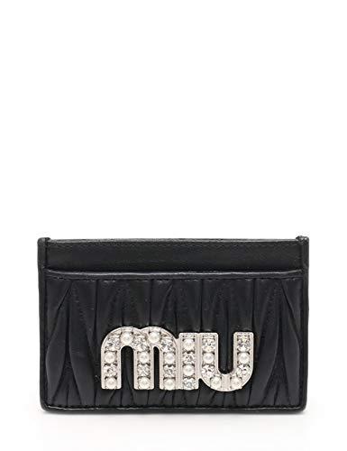 (ミュウミュウ) miu miu マテラッセ カードケース レザー フェイクパール 黒 2018SS 中古   B07G95S146