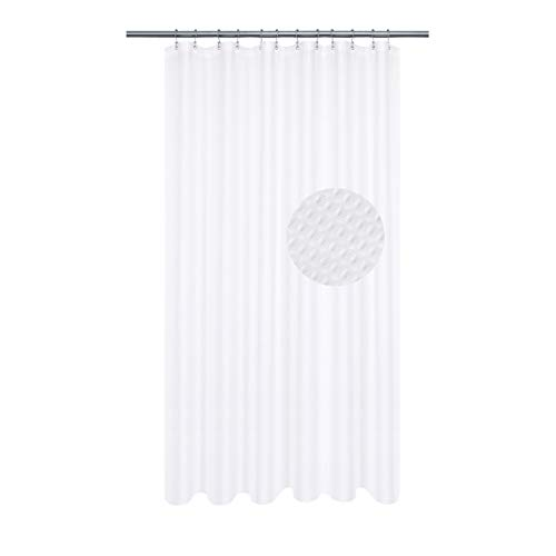 Extra Long Shower Curtain with 84 inch Height, Fabric, Waffle Weave, Hotel Collection, Water Repellent, Machine Washable, 230 GSM Heavy Duty, White Pique Pattern Decorative Bathroom Curtain (Shower Curtain Tall)