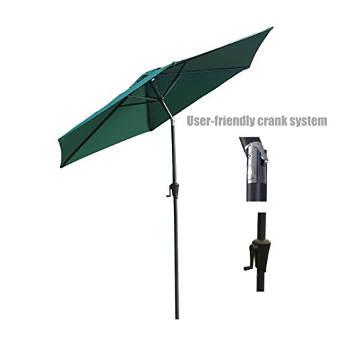 New Patio Style Umbrella 9ft Aluminum Pole UV Blocking Outdoor Durable Anti fade Durable Polyester Construction - Tilt And Hand Crank #Green/979 (Fortunoff Outdoor Furniture Cushions)