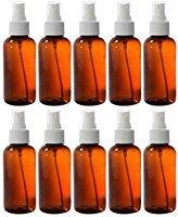 Round Plastic Bottles with White Fine Mist Pump Sprayer (10 Pack) (Pet Boston Round Plastic Bottles)
