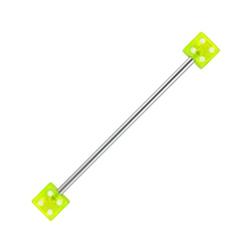 (VOTREPIERCING Acrylic Industrial Barbell 14G Ring with Two Green Dices Piercing Jewel - 1.6 x 35(1 3/8