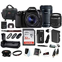 Canon EOS 80D Digital Camera: 24 Megapixel 1080p HD Video DSLR Bundle with 18-55mm & 55-250mm Lens 32GB SD Card Battery Grip Filters and Travel Charger - Professional Vlogging Sports & Action Cameras