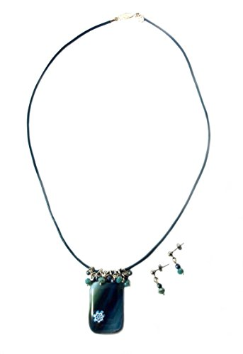 Handmade Fused Glass Pendant Necklace with matching Earrings | Shades of Teal | Millefiori Pendant |