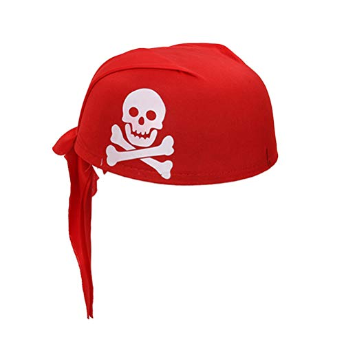 Amosfun Pirate Hat Halloween Masquerade Cosplay Costume Party Decor DIY Fancy Dress Up Accessory (Red)
