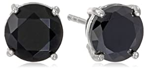 925 Sterling Silver 8mm Black AAA Cubic Zirconia Stud Earrings (4 cttw)
