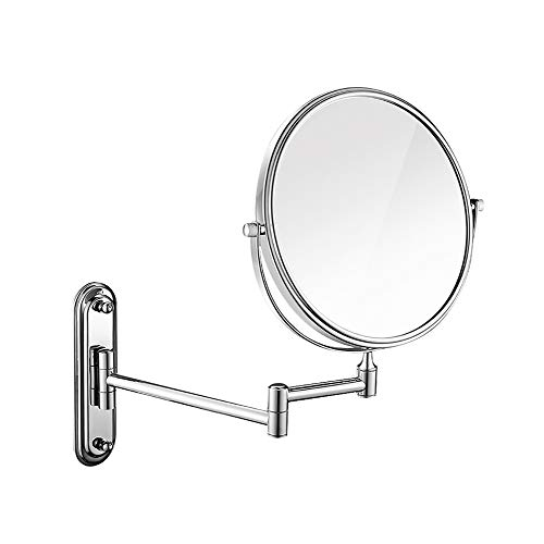 Makeup Mirror Folding Bathroom Wall-mounted Double-sided Vanity Mirror Toilet Wall Hanging Magnifying Beauty Mirror (Color : Stainless steel, Size : 6 inches) by Wall-mounted Folding Mirror