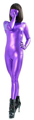 VSVO Unisex Metallic Zentai Second Skin Full Bodysuit (Kids Medium, (Superman Second Skin Costume)