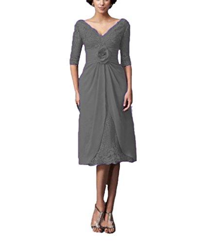 Tea Dresses Line Grey Chellen the of C038 Flower Bride Women's A Lace Length Mother wPqqTXE1x