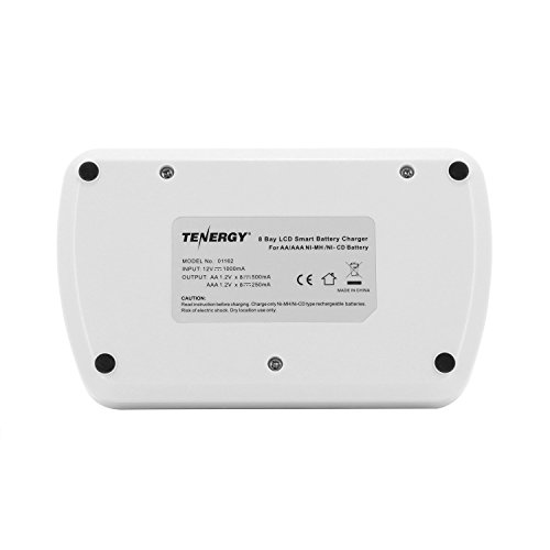 Combo: Tenergy TN162 8-Bay Smart LCD AA/AAA NiMH/NiCd Charger + 16 AAA Premium NiMH Rechargeable Batteries by Tenergy (Image #4)