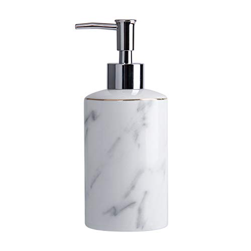 White Soap Dispenser for Bathroom Kitchen Countertop Lotion & Liquid Dispenser Soap Bottle Ceramic Soap Pump Marble Hand Soap Dispenser