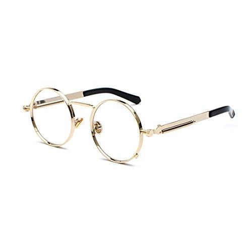 gafas las señoras redondas primavera metal Yefree Marco de gafas de de ovales Oro de Gafas vintage UBnRBWwpX
