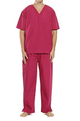 33000M-Burgundy-L Tropi Unisex Scrub Sets / Medical Scrubs / Nursing - Nursing Unisex Scrubs Top