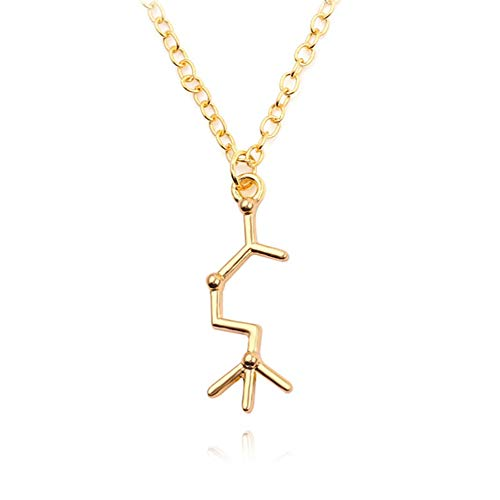 Aineecy Chemistry Necklace Science Coffee Caffeine Structure Molecule Pendant Necklace Happiness Neurotransmitter Necklace for Science Lovers Major jewelry03(Gold)