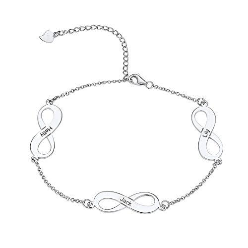 - U7 Infinity Anklet Bracelet Customized 925 Sterling Silver Endless Love Link Charm Anklets,Adjustable 17CM-22CM