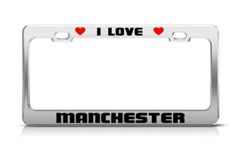 Manchester United License Plate - MaolinLicensF I Love Manchester United Kingdom License Plate Frame Tag Holder 2 Hole and Svrews
