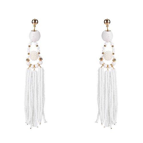 KissYan Thread Ball Beaded Tassel Dangle Earrings Long Fringe Drop Bohemian Statement Earrings Ball Ear Drops For Women Girls(White) by KissYan