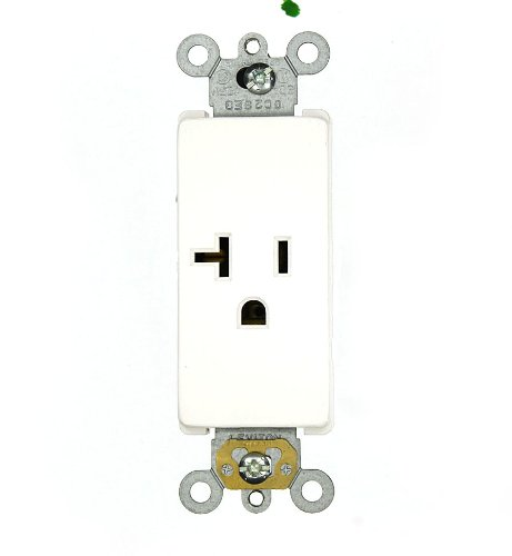 Leviton 16351-W 20 Amp, 125 Volt, Decora Plus Single Receptacle, Straight Blade, Commercial Grade, Self-Grounding, White