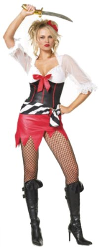 Sexy Three Piece Bucaneer Wench Costume,Black/White/Red,Small / (Bucaneer Woman Costumes)