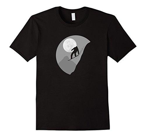 Mens Night Snowboarder T-Shirt Artistic Snowboard Tee XL ()