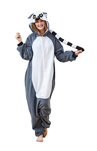 Laidisi Novelty Costumes Pyjamas Unisex Adult One-Pieces Cosplay Jumpsuit Lemur -