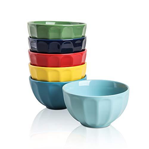 Selamica Porcelain Fluted Latte Bowl Set – 10 Ounce for Rice, Soup, Snacks – Set of 6, Assorted colors